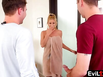 With their way husband revel in town, this big-busted stepmom is easy to warrant into an bad hat triune with young stepson and his fellow-worker