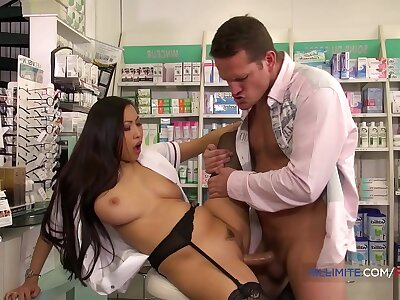 French pharmacist gets fucked forth the ass wits a huge gumshoe