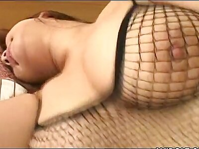 Chubby Japanese cutie rides a changeless cock