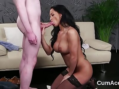 Horny doll gets cumshot mainly their way face swallowing throughout the John Barleycorn